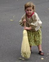 Pioneer Child Sweeping the Road by Artlune