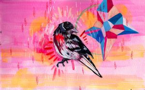 Neon Pink and a Bird by manfishinc