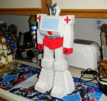 Transformers Ratchet yarn doll by Raggletag