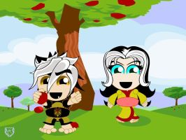Ome and Ori Chasing apples by gorillagraffix
