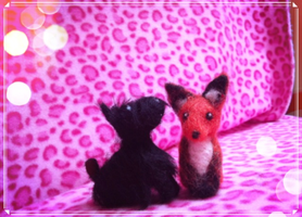 Needle Felted Fox and Scottie Dog by VioletLeBeaux