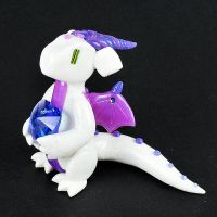 White Glitter, Purple and Blue Clay Dragon by HowManyDragons