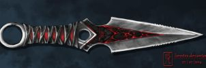 Red and black throwing knife by lorestra