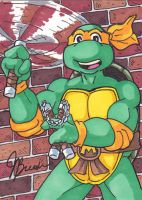 Sketch Card #30 - Cartoon Michelangelo by destinyhelix