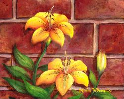 Yellow Lilies by artsyfartsyme