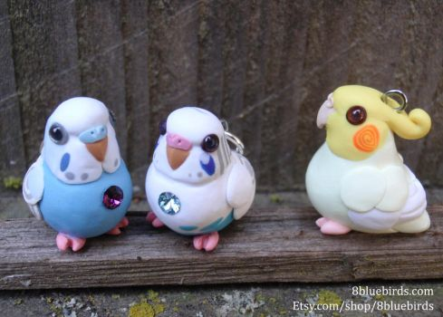Gemstone Budgies and a Tiel (Comm) by The-Wandering-Bird