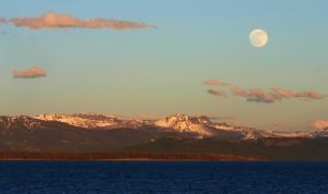 Moonrise Over Yellowstone Lake by BlackArrowPhotos
