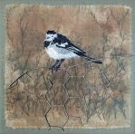 Hand Embroidered Wagtail by Ruth Norbury by RuthNorbury