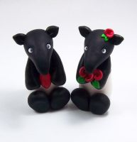 Tapirs Wedding Cake Topper by HeartshapedCreations