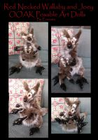 Red Necked Wallaby Mom and Joey Posable Art Dolls by Eviecats