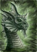 green dragon head by MistyWoods101
