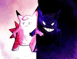 Clefable and Gengar by Thalassal