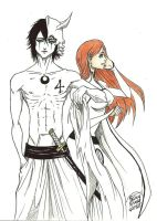 Ulquiorra and Orihime by devianiac