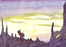 Water color free hand: Canyon Sunset by Roseprincess1
