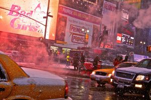 Snowing Times Square by Cecixx19