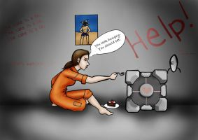 Chell and The Companion Cube by itsnagihide