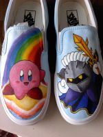 kirby and meta knight shoes by Kiwi6