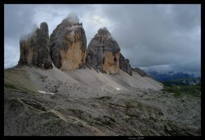 Tre Cime with clouds by acorwyn