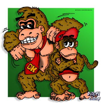 Pre-Comic Character Preview - Donkey / Diddy Kong by michaelheuvel