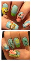 Spongebob nails by MistyPixelFan