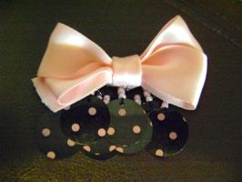Pink Polka-Dot Dangle Bow by Ms-Mordant