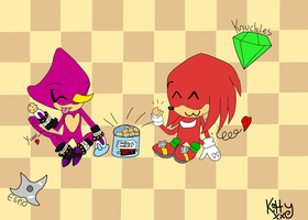Chibi Espio and Knuckles Eating Cookies!! by LittleKittyLionheart