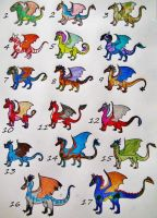 1 Point Each--Itty Bitty Dragons (sold out) by SpiderMilkshake
