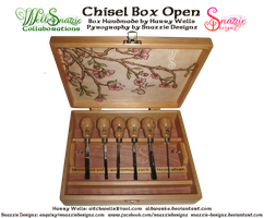 Handmade Chisel Box - Inside Pyrograph by snazzie-designz