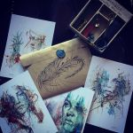 Postcards with Wax Seal and Hand Drawn Envelope by Carnegriff