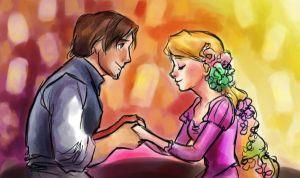 Flynn and Rapunzel by pebbled