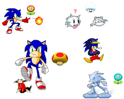 Sonic with Mario Power-ups by dabbido
