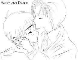 Draco and Harry- Uncolored ver by EclispeFlower