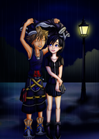 In the Rain - Sora and Xion by VanitasPrincesss