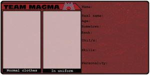 Team Magma - blank character sheet by OneLifeRemaining
