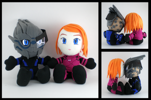 Garrus and Shepard plushies by eitanya