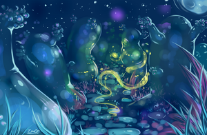 glow forest trail by oddsocket