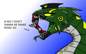 Gluttony Snake Form (with new TF prey OC, scalpal) by Dragonvoremors