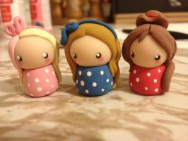 Polymer Clay Chibi Friends by Fluffybunnycharms