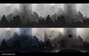 Futuristic city - Painting process steps ! by PIKSELLstudio