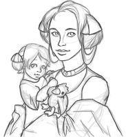 Padme and Leia by FlyingOverTheGrass