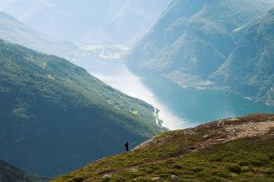 Lonely hiker looking out the fjord by Margit86