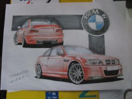 BMW M3 CSL drawing by jimmynerd