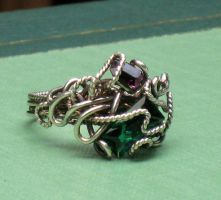 Silver and Crystal Chaos Ring by AniqueDesigns
