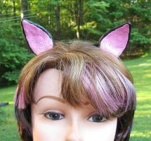 Pink and black clay cat ears by merigreenleaf