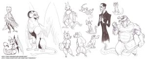 Sketch Dump - lotta creatures and a creppy guy by davi-escorsin