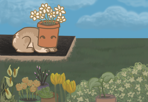 flowerpot in the garden~ part I by Meeshabishy