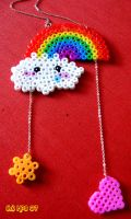 Rainbow bead necklace by kickass-peanut