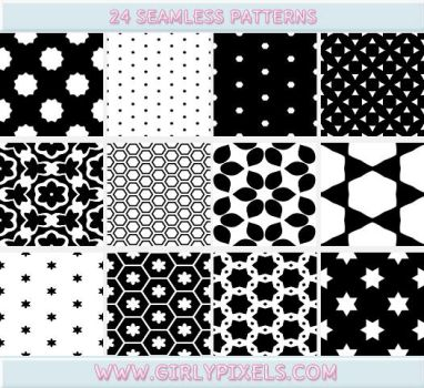 Black And White Patterns - Seamless / Repeating by girlypixels-com