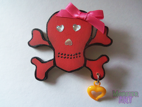 Red Wooden Skull Brooch by MonstArt