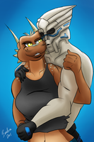 Demrina and Garrus [Art Trade] by X--The-B-Meister--X